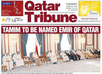 20130625 Tamim to be named Emir of Qatar (Qatar Tribune)1.jpg
